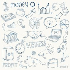 Doodle business and money icons. Business Infographic. $4.00