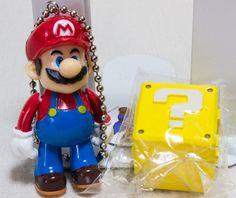 Super Mario Bros. Mascot Figure Keychain holder Set Question Box JAPAN NES GAME