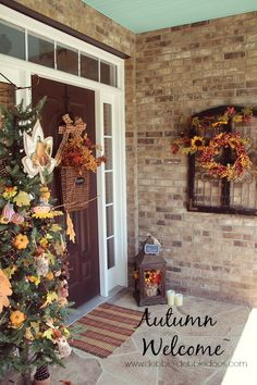 Autumn welcome porch decor, and a fall tree decorated with Dollar tree goods!
