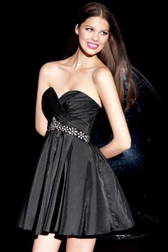 Shop now with free shipping for Alyce 4250 black beaded strapless homecoming dresses available now at RissyRoos.com.