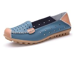 Minetom Damen Mokassin Hohl Flach Arbeiten Loafer Slipper Schuhe Sommer Bootsschuhe Blau EU 38 - Ballerinas für frauen (*Partner-Link)
