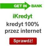 iKredyt Getin Bank to kredyt gotówkowy, który dostaniesz w 100% przez internet bez konieczności wizyty w oddziale banku. Maksymalna kwota kredytu jaką można uzyskać wynosi 10 000 zł i można jej spłatę rozłożyć maksymalnie na 36 miesięcy. Kredyt jest oferowany z dobrowolnym
