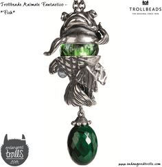 Trollbeads Animale Fantastico fantasy necklace with Malachite - fish
