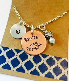 You're My Person, Best Friend Gift, Hand Stamped My Person Necklace, Personalized Initial Necklace