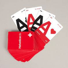 Helveticards generally retail for around $10 to $12 and come in red/black, cyan/black, and CMYK iterations. Kind of cool for designers who love a good game of poker.
