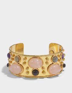 Sylvia Toledano Byzantine Cuff Bracelet in Gold-Plated Brass with Black Onyx and Cornaline TTTkrBua