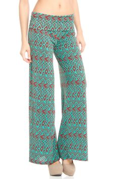 Violet Del Mar Palazzo Pant in Green and Brown