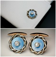 Antique Russian white (18K) & rose (14K) gold #cufflinks with ice blue guilloche enamel & diamonds. Made in St. Petersburg between 1908 and 1917 by Rudolf Weide #menswear #jewelry Cuff Links #dapper Cuffs