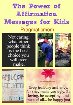 Positive Affirmations for Kids. What messages would you spread? I found these at camp! :: PragmaticMom