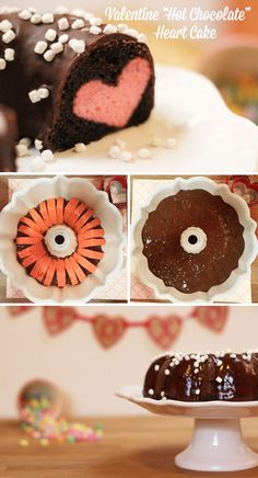 Valentine hot chocolate heart cake recipe *this is so cute + simple.
