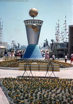 Disneyland's Entrance to Tomorrowland - 1955   ~~~   From: Disney History Institute (http://www.disneyhistoryinstitute.com/2012/11/construction-tales-at-disneyland-1955.html)