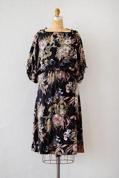 vintage 1970s black floral boho blouson dress