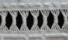 This Pin was discovered by Muh Hardanger Embroidery, Hand Embroidery Stitches, White Embroidery, Hand Embroidery Designs, Cross Stitch Embroidery, Embroidery Patterns, Bordado Floral, Hem Stitch, Drawn Thread