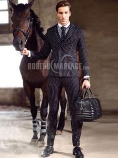 Costumes homme à rayures pas cher avec 4 boutons [#ROBE2012743] - robedumariage.com