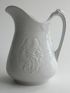 Antique ironstone pitcher white on white by agardenofdreams
