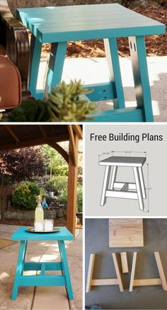 Build your own stylish 2x4 Outdoor Table.  Get the free plans to build your own for porch, patio, or living room for less than $20.  A thrifty DIY decor building project. #2x4table #outdoortable #freeprintable #freeplans #2x4projects #2x4outdoortable #2x4
