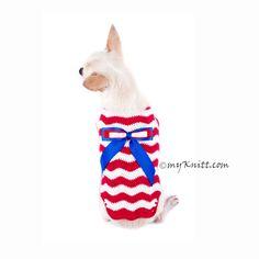 Red White Blue July 4th Dog Clothes Wavy Crochet with Ribbon DK793 Myknitt