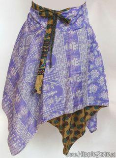 Wiązana spódnica dwustronna - fioletowa