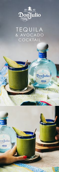 """Resolutions are even more rewarding when they're delicious. Thankfully, """"mixing Don Julio avocado cocktails"""" can be the first checked off your list. Add ½ fresh avocado to a cocktail shaker & gently muddle. Add OZ of Don Julio Blanco, OZ fresh lim Cocktail Drinks, Fun Drinks, Yummy Drinks, Cocktail Recipes, Cocktail Shaker, Alcoholic Drinks, Tequilla Cocktails, Liquor Drinks, Tequila"""