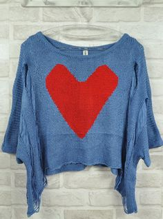 Blue Peach Heart Hollow-out Sweater    $36.00