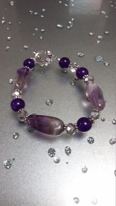 Crown Chackra Amethyst Bracelet    Reiki Charged by LeAnnDesign