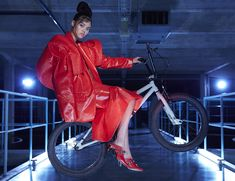 Minna Parikka Maxine red Red Leather, Leather Jacket, Occult, Heels, Jackets, Women, Fashion, Studded Leather Jacket, Moda
