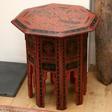 FAR EASTERN HIGHLY DECORATED RED LACQUER OCTAGONAL SIDE TABLE