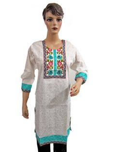 Colorful Embroidered White Tunic Dress for Women, Cotton Kurti Sale USA