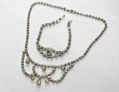 Vintage  Rhinestone Necklace Bracelet Set Bridal 1950s by patwatty, $20.00