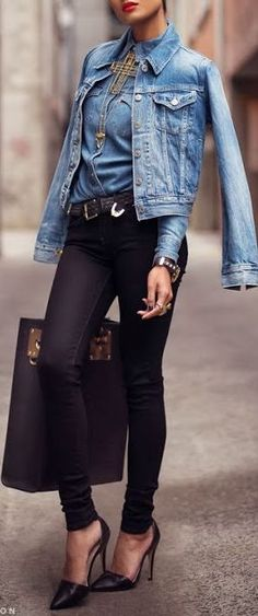 Chambray top, denim jacket, statement necklace, black bag, black shoes with black jeans.