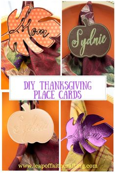 DIY Thanksgiving name cards made with a Cricut. These fall inspired leaf and pumpkin Thanksgiving table decorations are cut out of multiple materials! Thanksgiving Name Cards, Fun Thanksgiving Games, Thanksgiving Table, Thanksgiving Decorations, Table Decorations, Happy Christmas Day, Diy Place Cards, Faith Crafts, Table Name Cards