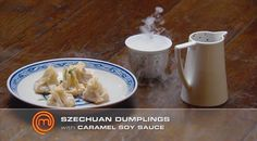 Sichuan Dumplings with Soy Sauce Caramel Eclairs, Master Chef, Masterchef Recipes, Middle East Food, Sweet Dumplings, Masterchef Australia, Pork Belly, Meat Recipes, Recipies