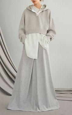 Grey Deconstructed Linen Ballskirt by ADEAM for Preorder on Moda Operandi
