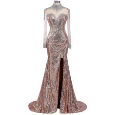 Sunvary Sequins Rhinestone Mermaid Mother of the Bride Prom Dress with... ❤ liked on Polyvore featuring dresses, sequin prom dresses, rhinestone dress, prom dresses, white dress and white long-sleeve dresses