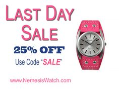 LAST DAY SALE - Get 25% Discount Now! www.NemesisWatch.com #watches #Christmas #shopping