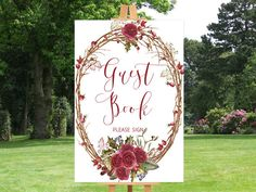 Printable wedding sign Wedding guest book sign by instanttrends