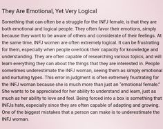 The INFJ Female: Emotional, Yet Very Logical... THIS IS SO ME.