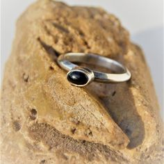 Black Onyx Ring  Sterling Silver Ring  Simple by SweetVintageTX
