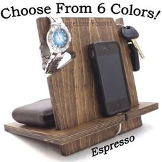 Universal Cell Phone Docking Station/Charging Stand/Holder.  This personalized wooden cell phone dock makes a great gift! Works with virtually any phone-perfect for helping anyone get organized.