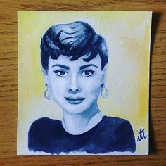 """#watercolour by #irenetorcalilustracion @Irene.T.Ilustra #smallart #audrey #audrey_hepburn #sabrina #classic #myfavouriteclassicactress #oldmoviestars #star #actress I recommend everyone to read a bit about her life, #she was #amazing! On of her #quotes was """"Nothing is impossible, the word itself says I'm possible"""""""