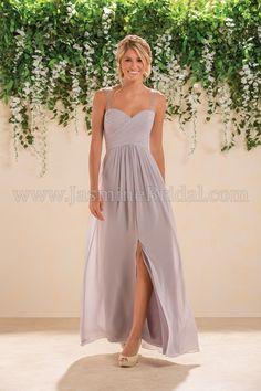 Jasmine Bridal Bridesmaid Dress B2 Style B183007 in Graphite, Light Purple //