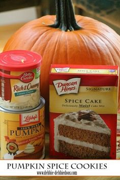 #pumpkin spice cookies. Only two ingredients! Fall dessert recipe.