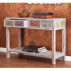 The Southern Enterprises Faye Console Table - Weathered Fir is both practical and beautiful. Featuring a white-washed weathered fir finish, this. Boho Living Room, Living Room Chairs, Living Room Furniture, Home Furniture, Furniture Showroom, Sofa Tables, Console Table, Coffee Tables, Entryway Furniture
