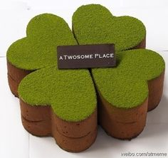 For St. Patrick's Day, a four leaf clover mousse cake with green tea yum.