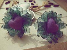 Zelené s fialovým srdiečkom by Martinuska - SAShE.sk - Handmade Náušnice