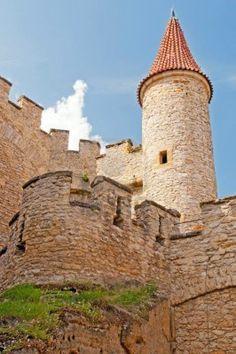 Medieval castle Kokorin viewed from tower, Czech Republic. Stock Photo