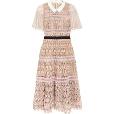 Self-Portrait Guipure lace midi dress (€410) ❤ liked on Polyvore featuring dresses, pastel pink dress, lace midi dress, pink lace cocktail dress, ruffle sleeve dress and lace cocktail dresses
