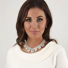 """Mialisia Best Seller... """"Mirai Silver"""" $70 USD  A fetching strand worn alone or with a VersaStyle classic, Mirai features oversized rhinestone accents on a worn silver base chain. Measures 22"""" #mialisia"""
