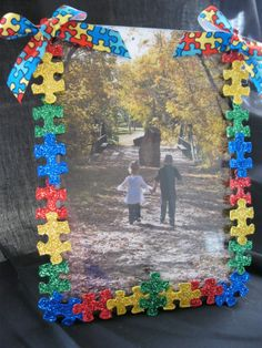 Fun thing to do for Mother's Day project.  use pieces that aren't in a full set (or have an ugly pic as outcome), paint/glitter/mp, then glue! Brill! Decorated picture frames in colors of your choice!