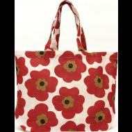Shop here- $1 of every $5 goes to our charity! Pansy Chili Red Jute Tote